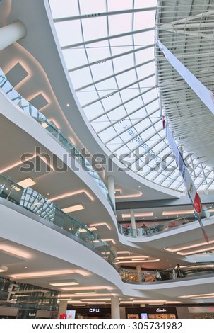 BEIJING-AUG. 2, 2015. Design Interior Livat shopping mall. Opened late 2014, LIVAT is an impressive feat of engineering and design. It is, after all, developed and owned by Inter Ikea Centre Group. - stock photo