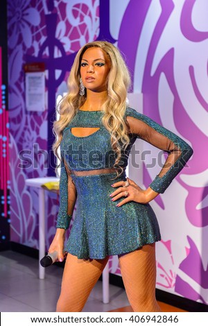 BEIJING, CHINA - APR 6, 2016: Beyonce Knowles at the  Beijing Madame Tussauds wax museum. Marie Tussaud was born as Marie Grosholtz in 1761
