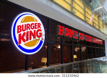 BEIJING, CHINA-AUG. 29, 2015: Burger King Restaurant logo. Burger King, founded in 1954, claims to serve more than 11 million guests per day around the world. - stock photo
