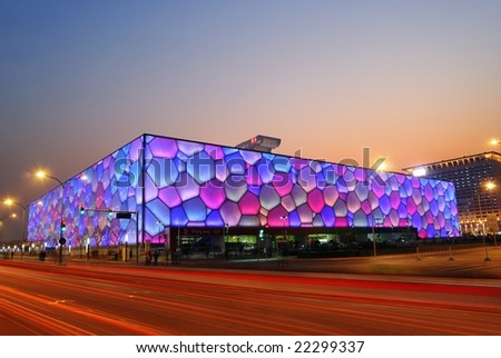 """Beijing, China - December 18: Beijing's swimming Olympic Stadium (""""watercube"""") illuminated at dusk on December 18th, 2008 after the 2008 Olympic Games (August, 2008). - stock photo"""