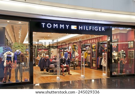 BEIJING, CHINA - JANUARY. 18, 2015: Tommy Hilfiger store. Tommy Hilfiger is an global apparel and retail company founded in 1985. It offers high end products to consumers over 90 countries.  - stock photo