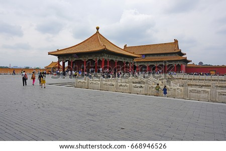 BEIJING, CHINA -5 JUN 2017- Inside the Forbidden City, the former Chinese Imperial Palace complex located in the center of Beijing. It is the main tourist attraction in Beijing.