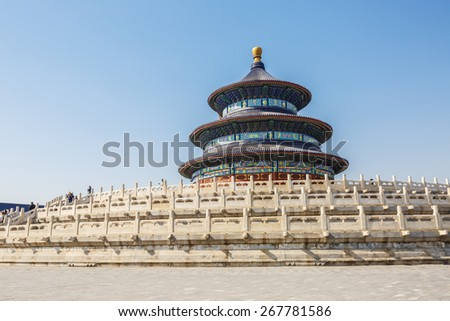 Beijing, China - March 24, 2015:The temple of heaven, It is the largest ancient religious buildings in the world, it is the Ming and qing dynasties emperor worship of heaven and earth god  place