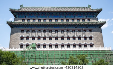 BEIJING, CHINA-May 24, 2016 : Archery Tower of Zhengyangmen is a gate in Beijing's historic city wall situated to the south of Tiananmen Square and once guarded the southern entry into the Inner City. - stock photo