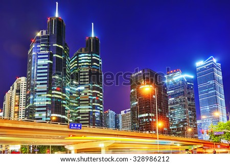 BEIJING, CHINA - MAY 20, 2015:Evening, night modern Beijing business quarter of the capital, the streets of the city with skyscrapers. Beijing. China - stock photo