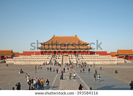 BEIJING, CHINA NOVEMBER 6, 2008: People visiting the oldest part of the city. The place attracts millions of people every year. - stock photo