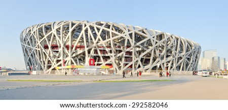 BEIJING, CHINA, OCTOBER 16, 2013: The Beijing Olympic stadium, an architectonic marvel better known as the Bird's nest, in Beijing, China