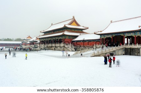 Beijing, China - on Nov 22, 2015: The Forbidden City(China National Palace Museum) after a heavy snow in winter. - stock photo