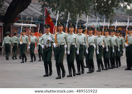 "Beijing CHINA-Sep 26, 2016:, known as the ""most handsome"" Chinese mysterious forces Tiananmen flag guard in the Imperial Palace square, and attract many visitors."