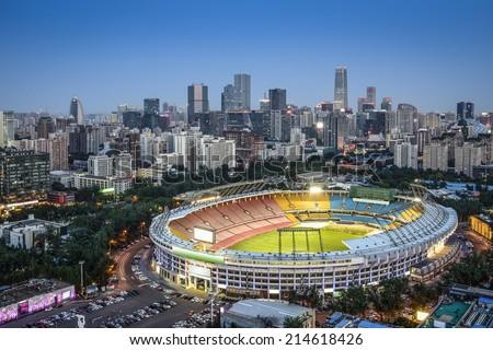 Beijing, China skyline and stadium. - stock photo