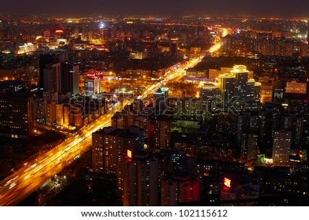 Beijing cityscape at dusk - stock photo