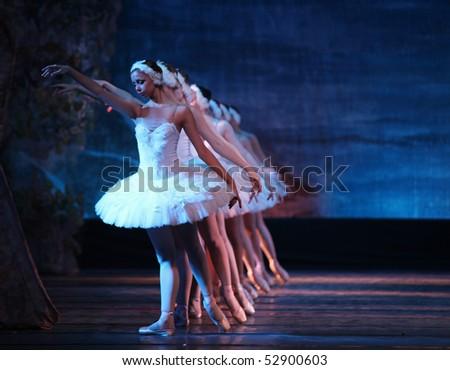 BEIJING - DECEMBER 28: Russian Royal Ballet dancers perform Swan Lake ballet at Beijing Exhibition Theatre on December 28, 2009 in Beijing; China. - stock photo