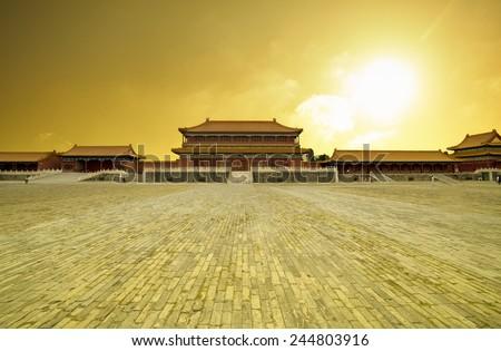 Beijing Forbidden city in sunset,china - stock photo