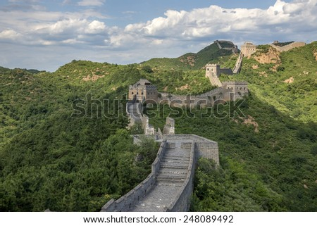 Beijing Great Wall in China, the majestic Great Wall, a symbol of China.  - stock photo