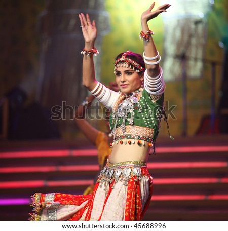 BEIJING - JANUARY 31: An Indian dancer performs on stage during Indian Music and Dance Show at Beijing Exhibition Theater on January 31, 2010 in Beijing, China. - stock photo