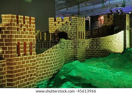 BEIJING  -  JANUARY 30: Great Wall made of chocolate is on display at the World Chocolate Dream Park on January 30, 2010 in Beijing, China. - stock photo