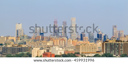 BEIJING-JULY 26, 2016. High angle View on Beijing Central Business District which occupies 3.99 km2 of Chaoyang District on the east side of the city. Beijing CBD houses 117 Fortune 500 businesses. - stock photo