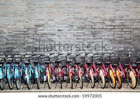 BEIJING - JUNE 3: Rent for bicycle parking lot,  June 3, 2010 in Beijing, China.  In Beijing near are ten million bicycles. - stock photo