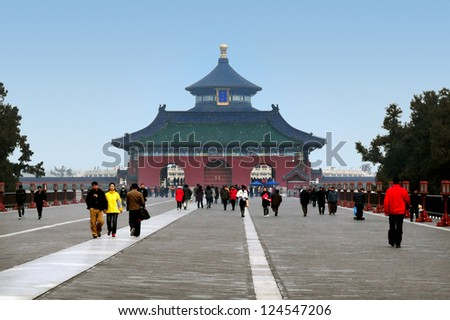 BEIJING-MARCH 15: Visitors at the Temple of Heaven on Mar 15 2009 in Beijing, China.The Temple of Heaven was selected as a UNESCO World Heritage Site in 1998 - stock photo