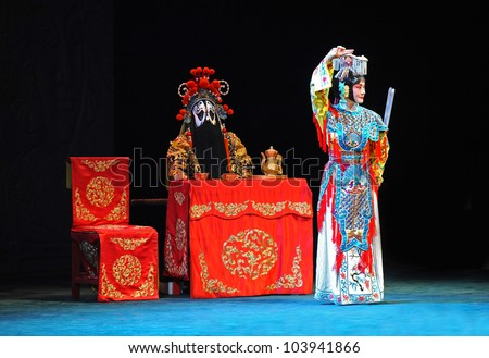 "BEIJING - MAY 28: Actors of the Beijing Opera Troupe perform the famous story ""Farewell to my Concubine"" at the Liyuan Theatre on May 28, 2012, in Beijing, China."