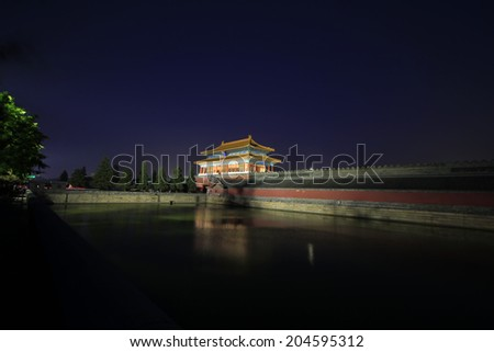 BEIJING - MAY 22: Night view of the Shenwu Gate Tower in the Forbidden City, on may 22, 2014, Beijing, China