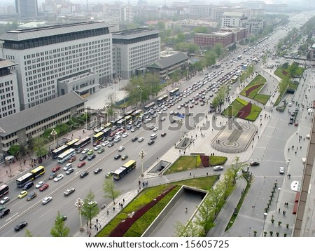 beijing's street and busy traffic in china