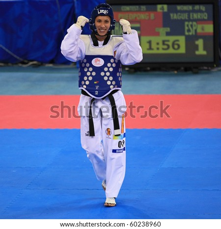 BEIJING-SEP02: Brigida Yague of Spain reacts after winning the -49 kg Women Gold-medal match during the Taekwondo competitions of the SportAccord Combat Games2010 Beijing on Sep02,2010 in Beijing,China - stock photo