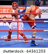 BEIJING-SEP 04: Fatima Bokova of Russia(R) fights against Barbara Plazzoli of Italy during the Kickboxing competitions of the SportAccord Combat Games 2010 Beijing on Sep 04, 2010 in Beijing,China - stock photo