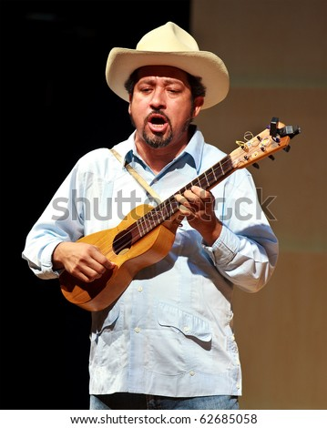 BEIJING-SEP 18: Mexican artists from Mono Blanco Group perform ton stage at the Central Conservatory of Music on Sep 18, 2010 in Beijing, China