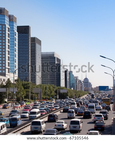 Beijing skyline and traffic jam on ring road. China - stock photo