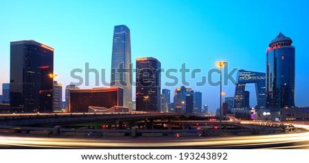 Beijing skyline at dusk - stock photo