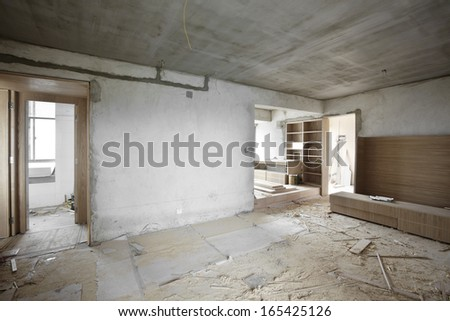 Being renovated house - stock photo