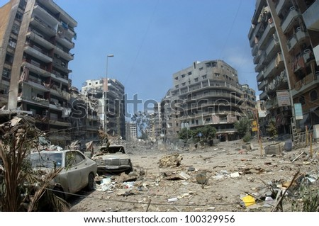 BEIRUT, LEBANON - JULY 26 : Buildings destroyed by Israeli bombing in the city of Beirut on July 26. 2006, Beirut,Lebanon. - stock photo