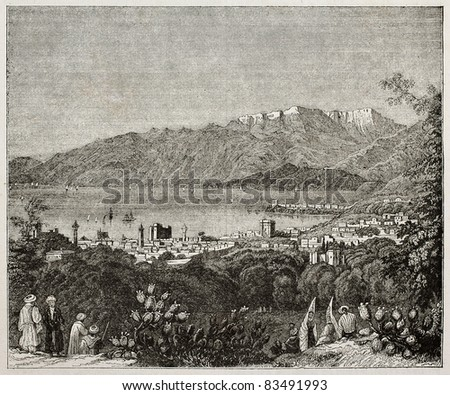 Beirut old view, Lebanon. By unidentified author, published on Magasin Pittoresque, Paris, 1840 - stock photo