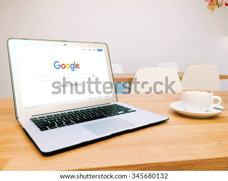 BEKASI, INDONESIA - DECEMBER 1, 2015: A laptop showing Google.com homepage. Every minute, 2 million searches are performed on Google. - stock photo