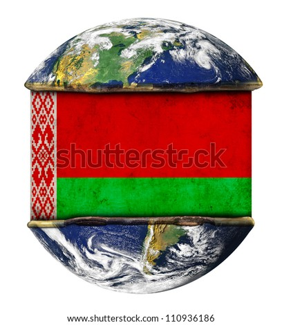 Belarus earth globe flag. Elements of this image furnished by NASA.