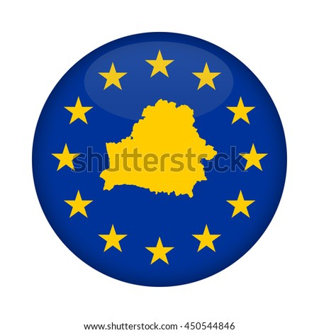 Belarus map on a European Union flag button isolated on a white background. - stock photo