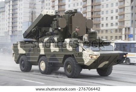 Belarus. Minsk. 6.5.2015g. The military equipment moves on Nezavisimosti Avenue for rehearsal of the parade devoted to the seventieth anniversary of a victory in World War II.