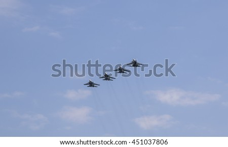Belarus, Minsk, june, 30. 2016: Aviation equipment during training parade by the Independence Day of Republic of Belarus.