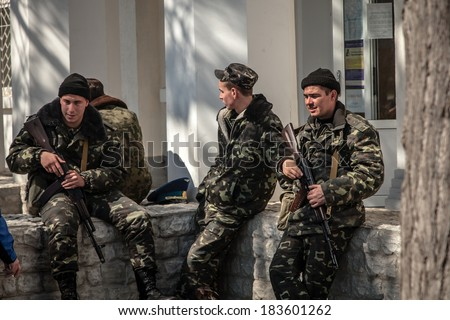 BELBEK, UKRAINE - March 21, 2014 Soldiers on the last day of the Ukrainian military base A4515 before being overtaken by Russian occupants - stock photo
