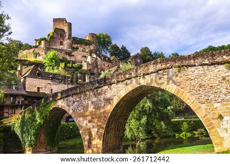Belcastel - one of the most beautiful villages of France(Aveyron - stock photo