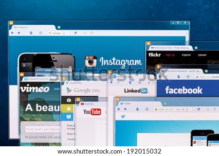 BELCHATOW, POLAND - APRIL 11, 2014: Photo of social network homepages on a monitor screen. - stock photo