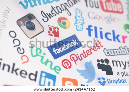BELCHATOW, POLAND - DECEMBER 28, 2014: Popular social media website logos on computer screen - stock photo