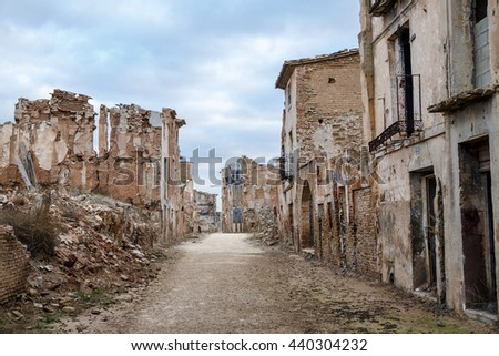 Belchite is a town in the province of Zaragoza Spain. Is known to have been the scene of one of the symbolic battles of the Spanish Civil War, the Battle of Belchite. Now it is abandoned. - stock photo
