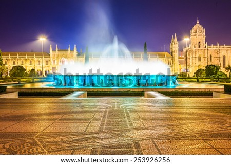 Belem, Lisbon, Portugal at the Jeronimos Monastery fountain at night. - stock photo