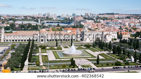 Belem, Portugal - April 28, 2014: Panoramic view of the Jeronimos monastery, Belem, POrtugal