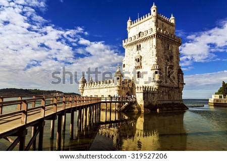 Belem tower - fortified building (fort) on an island in the River Tagus - stock photo