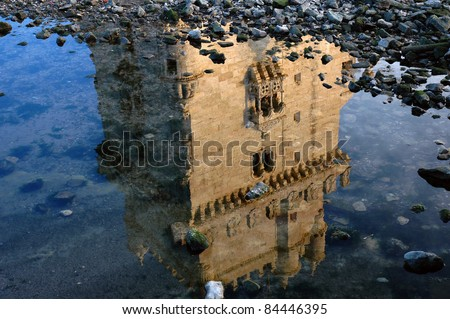 Belem Tower, in Lisbon, Portugal, reflected on Tagus river - stock photo