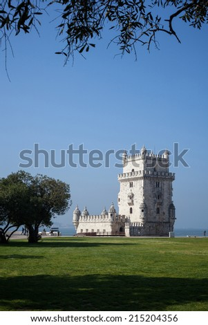 Belem Tower or the Tower of St Vincent is a fortified tower located in the civil parish of Santa Maria de Belem in the municipality of Lisbon, Portugal. - stock photo