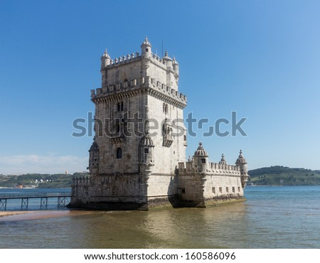 Belem Tower or Tower of St Vincent in Belem near Lisbon Portugal. The old fort is built into the River Tagus